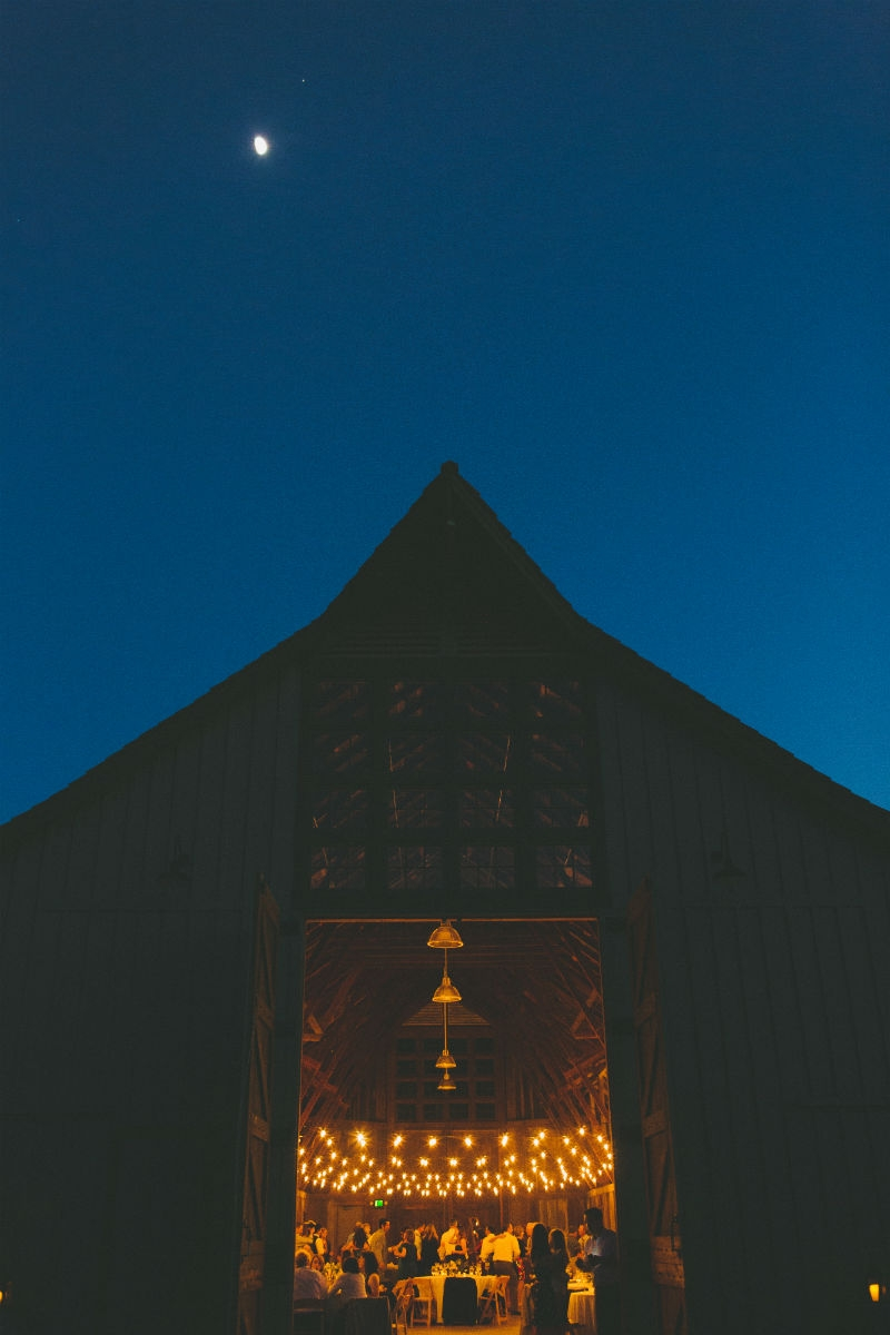 """Good Night Moon"" shot of the barn at the Santa Lucia Preserve. Flowers by Seascape Flowers. Coordinated by Coastside Couture. Photography by Two Foxes Photography. Location at the Santa Lucia Preserve."
