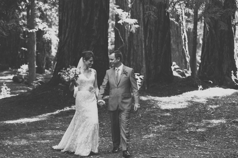 Beautiful black and white photo of the bride and groom after exchanging their vows. Flowers by Seascape Flowers. Coordinated by Coastside Couture. Photography by Two Foxes Photography. Location at the Santa Lucia Preserve