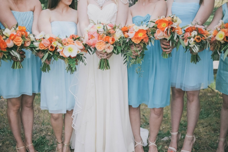 The bride and her maids showing off their blooms.