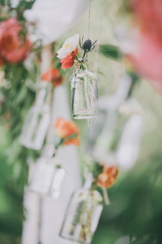 Whimsical hanging bottles.