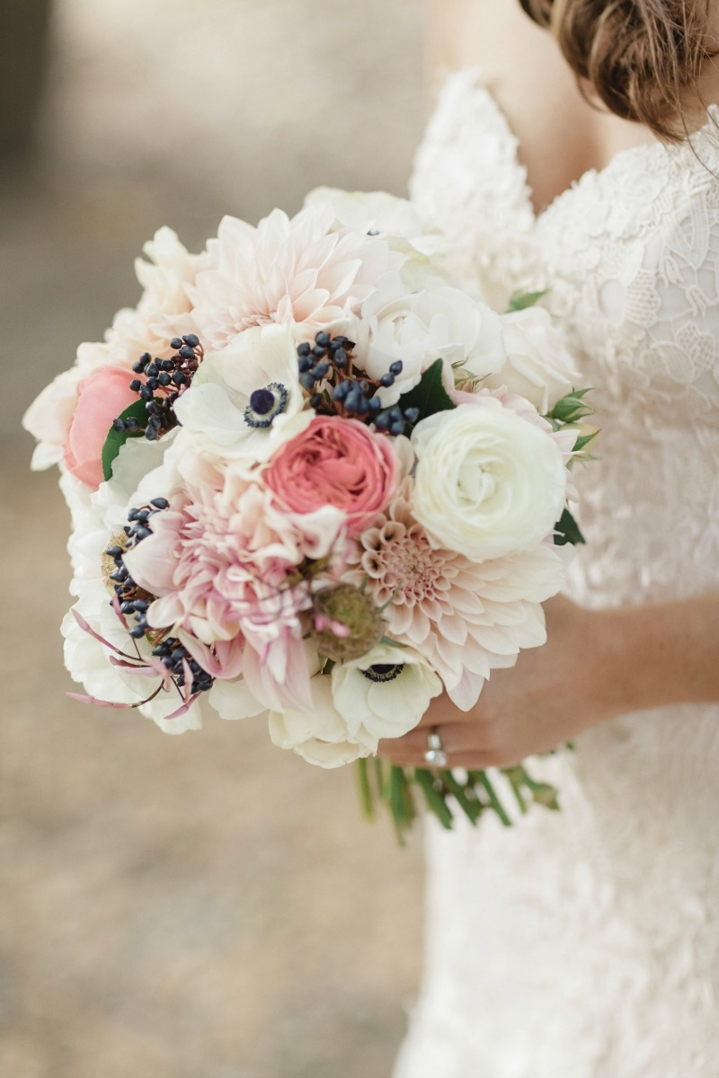 Truly in love with this stunning combo of pretty petals! Anemones, dahlias and garden roses!!! Beautiful wedding at Rancho Soquel. Flowers by Seascape Flowers. Photography by Jana Williams Photography. Coordination by The Wedding Connection. Cake by