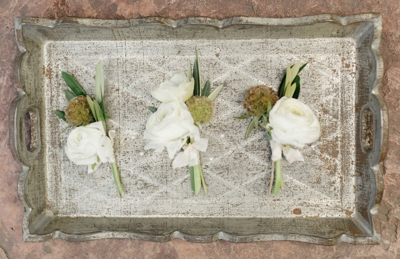 Boutonnieres ready to be pinned.  Beautiful wedding at Rancho Soquel. Flowers by Seascape Flowers. Photography by Jana Williams Photography. Coordination by The Wedding Connection. Cake by The Buttery.