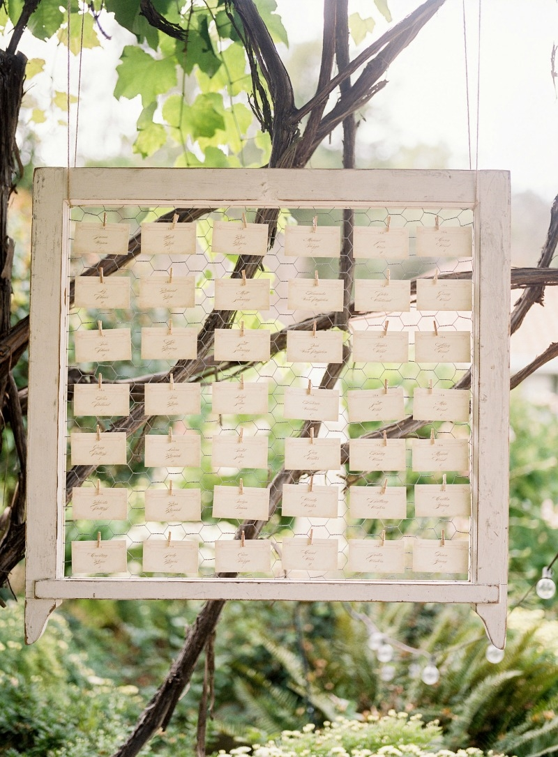 Sweet escort cards hanging from our vintage white wash frames. Beautiful wedding at Rancho Soquel. Flowers by Seascape Flowers. Photography by Jana Williams Photography. Coordination by The Wedding Connection. Cake by The Buttery.