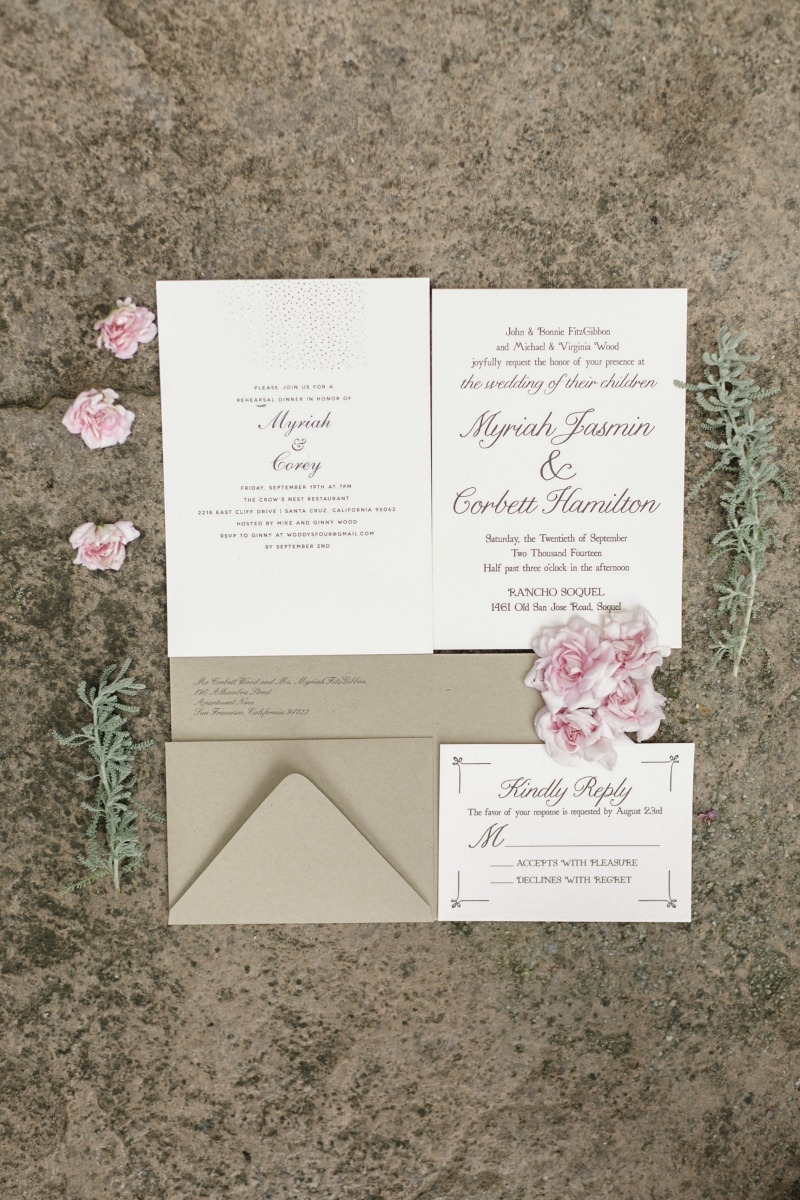 Loving these paper goods. Beautiful wedding at Rancho Soquel. Flowers by Seascape Flowers. Photography by Jana Williams Photography. Coordination by The Wedding Connection. Cake by The Buttery.
