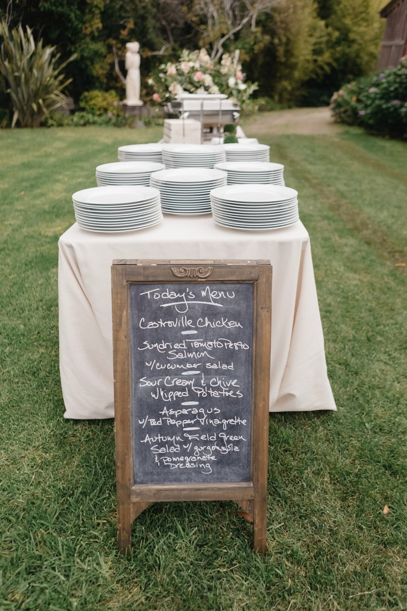 Sweet menu on this sandwich board! Beautiful wedding at Rancho Soquel. Flowers by Seascape Flowers. Photography by Jana Williams Photography. Coordination by The Wedding Connection. Cake by The Buttery.