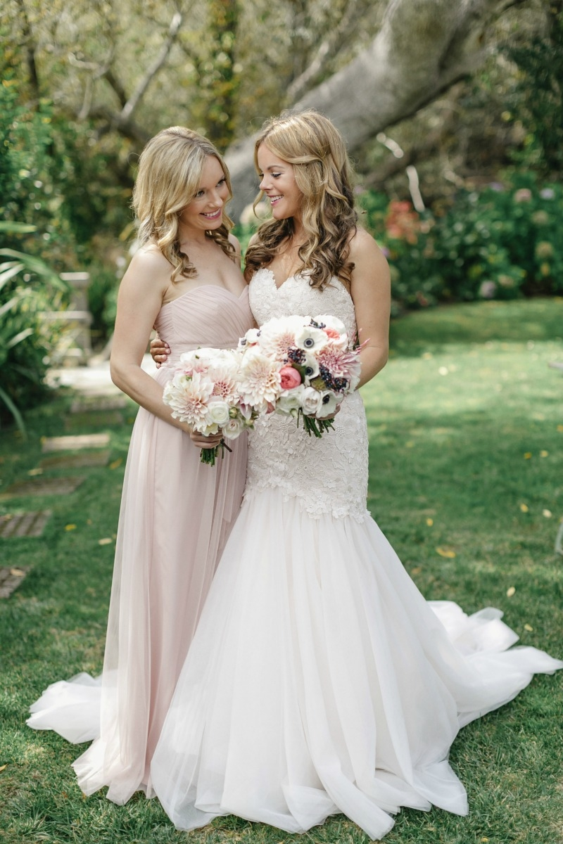 The beautiful bride and her stunning sister. Beautiful wedding at Rancho Soquel. Flowers by Seascape Flowers. Photography by Jana Williams Photography. Coordination by The Wedding Connection. Cake by The Buttery.