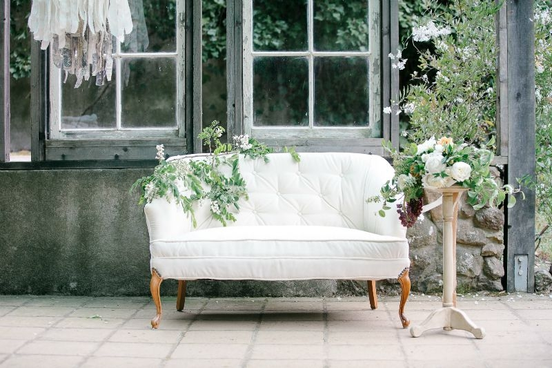 Organic farm to table inspired photo shoot. Styled by E Events Co., Photography by Julie Cahill Photography, Flowers by Seascape Flowers, Venue Sand Rock Farms, Dress by Claire Pettibone from The Dress Theory, MUAH Kelly Jones, Vintage Rentals Fourag