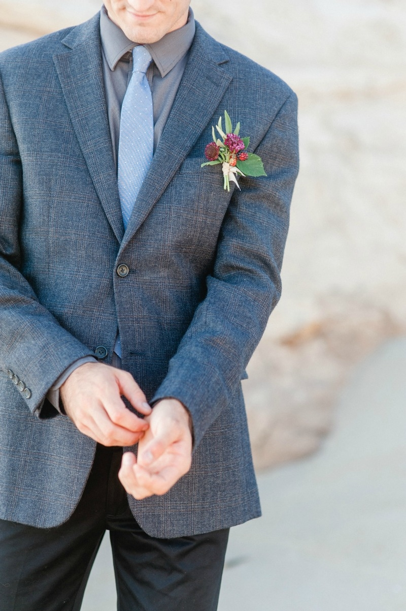 Autumnal beach wedding on the coast of California photographed by Andrea Rufener. Dress by Ju.Lee Chic. MUAH by Skyla Arts. Flowers by Seascape Flowers.