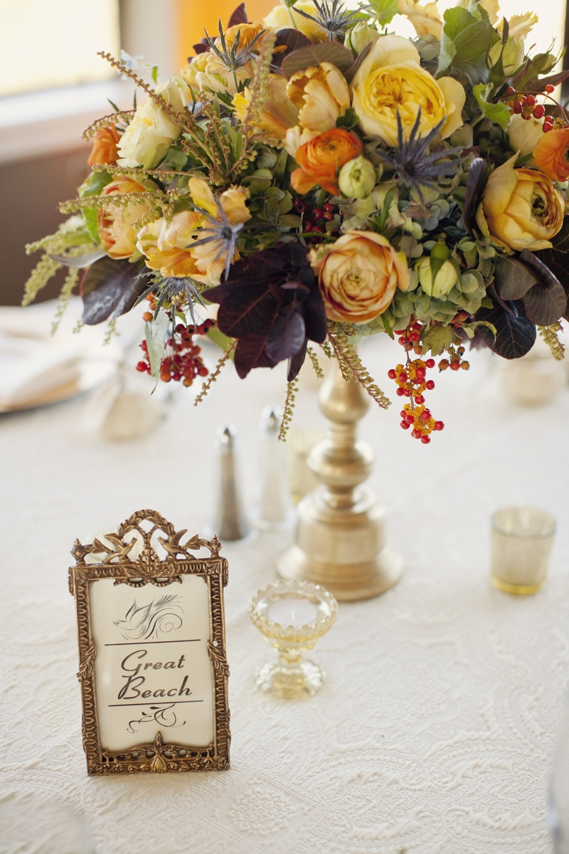 Lots of textures in these fall inspired centerpieces. Flowers and Decor by Seascape Flowers. Photography by  Evynn Levalley Photography. Linens by La Tavola Linens. Venue at Seascape Beach Resort.