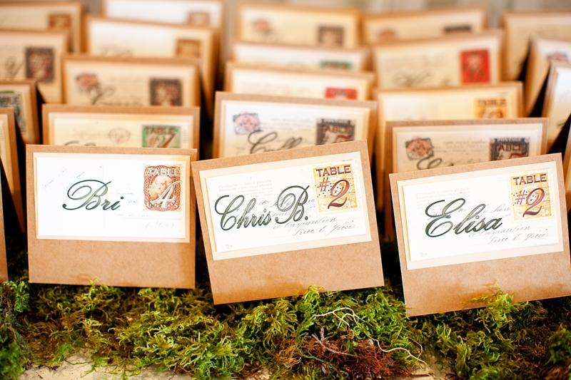 Vintage post card inspired escort cards. Flowers and decor by Seascape Flowers. Photographed by Danielle Gillet Photography. Linens by La Tavola Linens. Venue at Seascape Beach Resort.