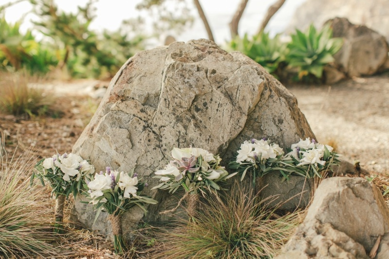 I love this combination of gardenia, succulents, orchids, and olive bridal bouquets. Flower by Seascape Flowers. Coordinated by Coastside Couture. Photographed by Carlie Stasky Photography. Catering by A Taste of Elegance. Rentals from Classic Rental