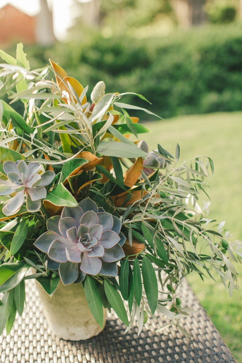 Simple and casual arrangement of succulents, olive and magnolia. Flower by Seascape Flowers. Coordinated by Coastside Couture. Photographed by Carlie Stasky Photography. Catering by A Taste of Elegance. Rentals from Classic Rentals. Tent from Chic Re