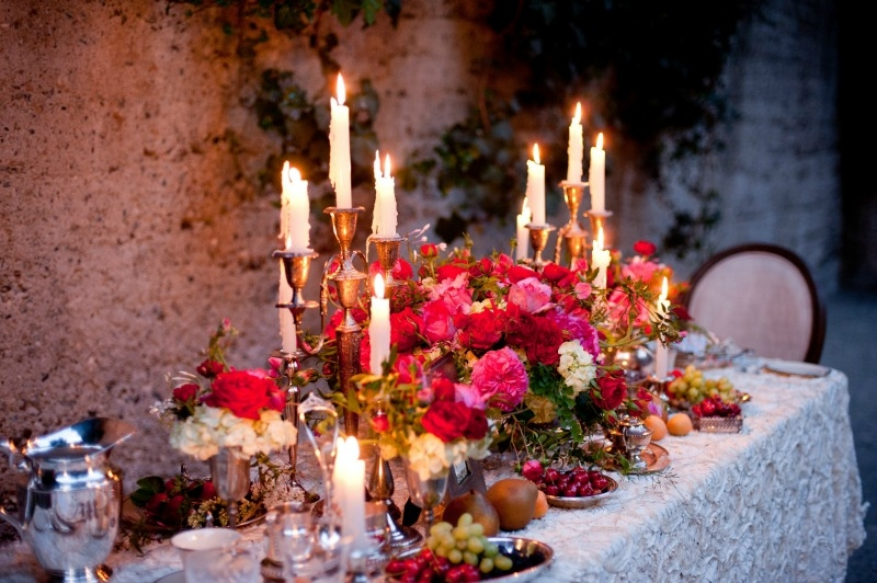 Romantic dinner by candle light. Flowers by Seascape Flowers. Photography by Susannah Gill-Photographic Storytelling. Hair and make Up by Blending Beautiful. Dress from Jewels on Pacific Avenue. Cake by The Buttery. Location at Sandrock Farms.