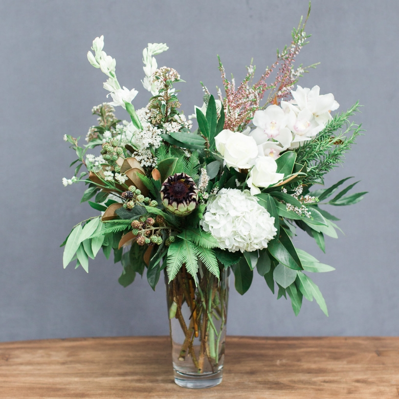 An all white arrangement available for local delivery to Soquel, California