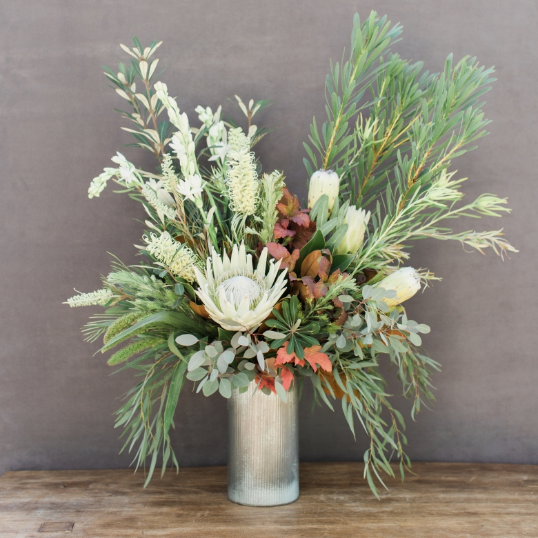 large bouquet of white protea
