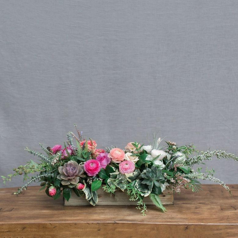 low spring floral centerpiece available for delivery in Aptos