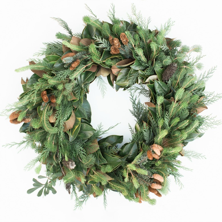 Curly Pine and Magnolia Wreath